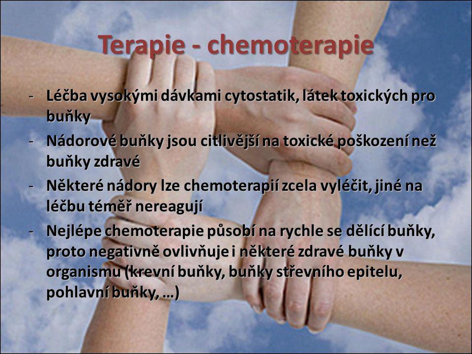 Terapie - chemoterapie -Léčba vysokými dávkami cytostatik, látek toxických pro buňky -Nádorové buňky jsou citlivější na toxické poškození než buňky zd
