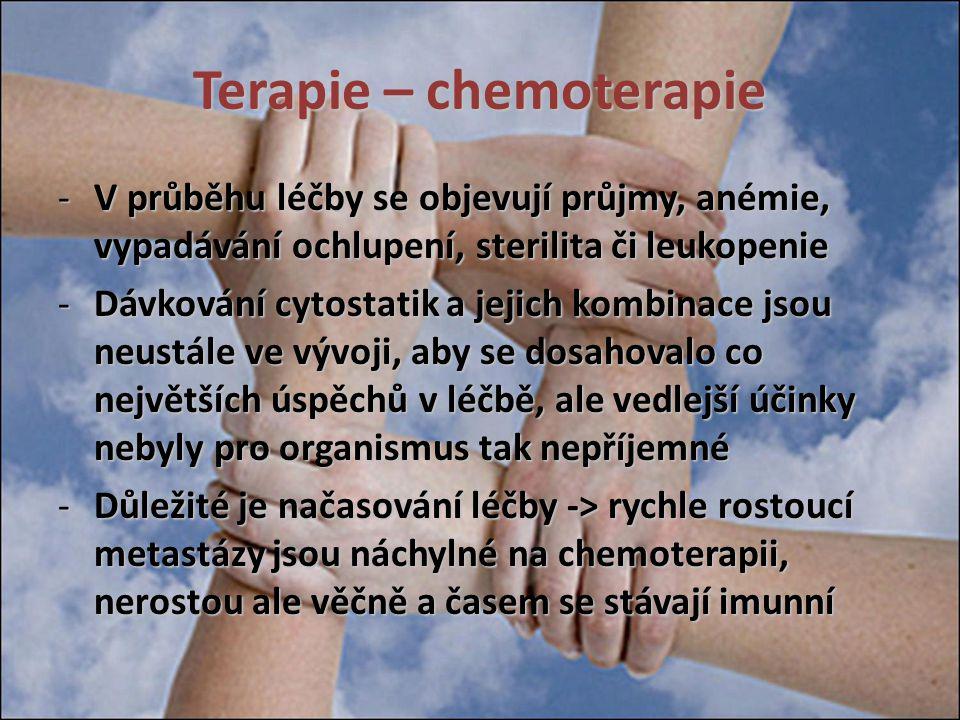Terapie – chemoterapie -V průběhu léčby se objevují průjmy, anémie, vypadávání ochlupení, sterilita či leukopenie -Dávkování cytostatik a jejich kombi