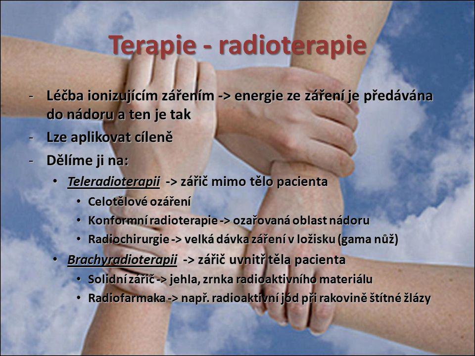 Terapie - radioterapie -Léčba ionizujícím zářením -> energie ze záření je předávána do nádoru a ten je tak -Lze aplikovat cíleně -Dělíme ji na: Telera