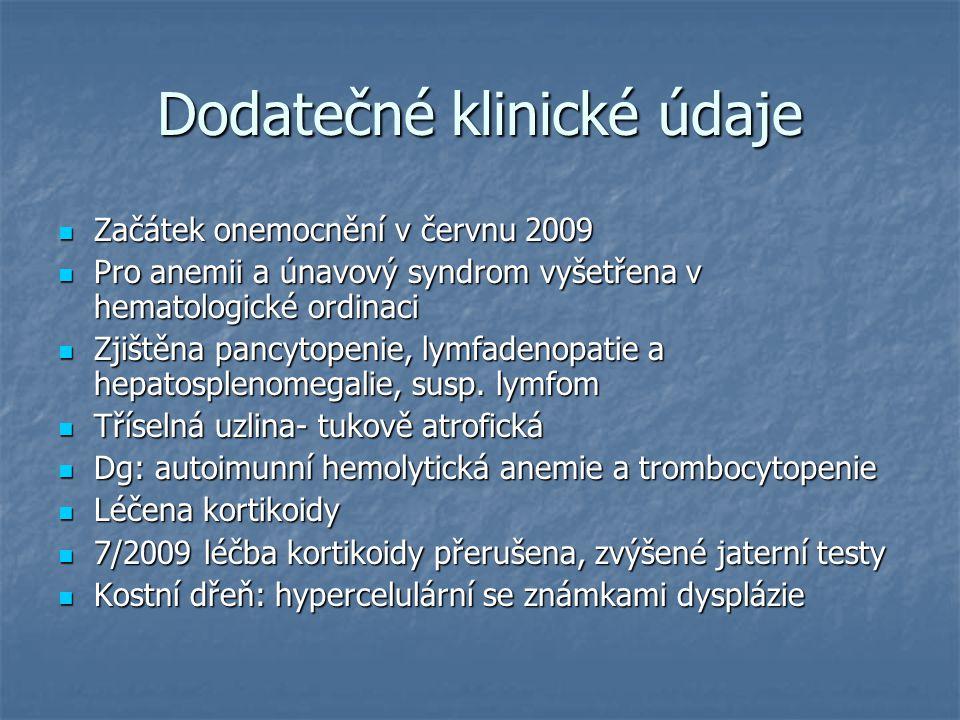 Dodatečné klinické údaje Začátek onemocnění v červnu 2009 Začátek onemocnění v červnu 2009 Pro anemii a únavový syndrom vyšetřena v hematologické ordi