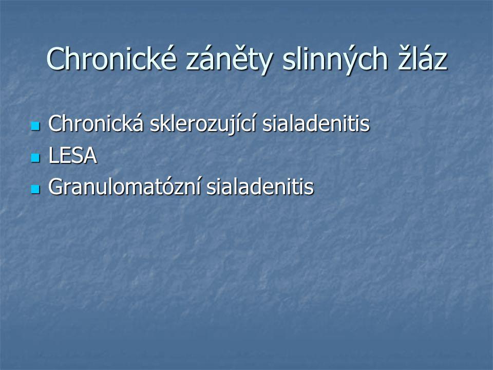 Chronické záněty slinných žláz Chronická sklerozující sialadenitis Chronická sklerozující sialadenitis LESA LESA Granulomatózní sialadenitis Granuloma