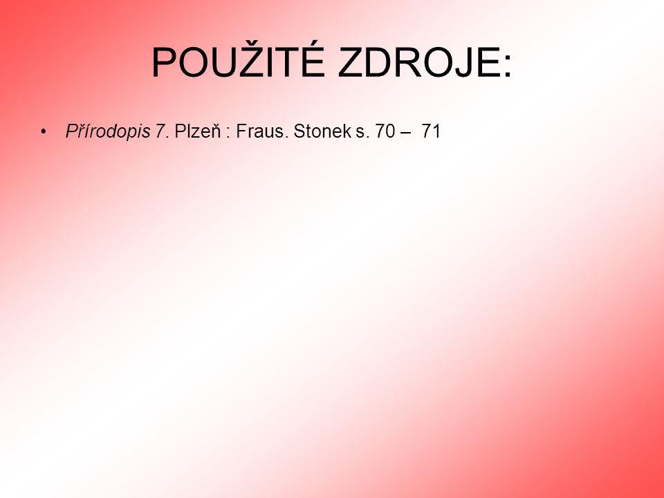 POUŽITÉ ZDROJE: Přírodopis 7. Plzeň : Fraus. Stonek s. 70 – 71