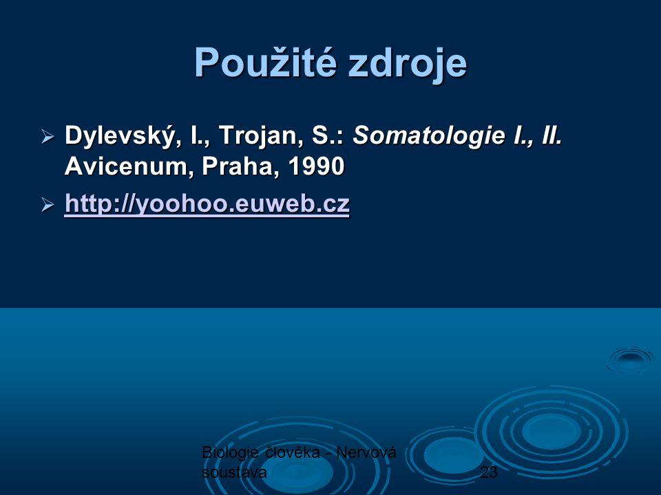 Biologie člověka - Nervová soustava23 Použité zdroje  Dylevský, I., Trojan, S.: Somatologie I., II. Avicenum, Praha, 1990  http://yoohoo.euweb.cz ht