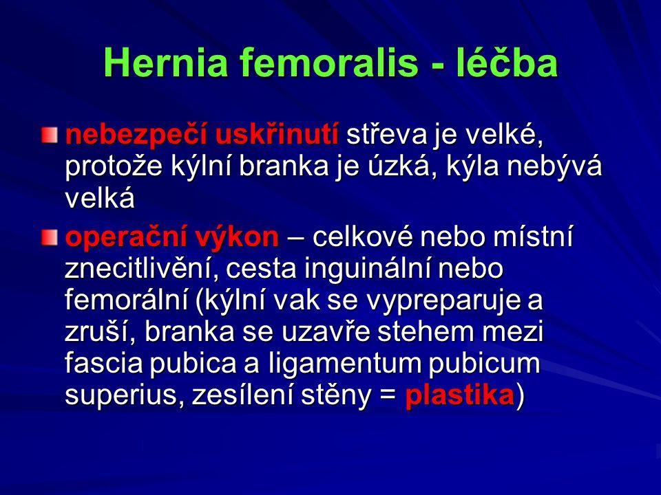 Hernia femoralis - léčba nebezpečí uskřinutí střeva je velké, protože kýlní branka je úzká, kýla nebývá velká operační výkon – celkové nebo místní zne