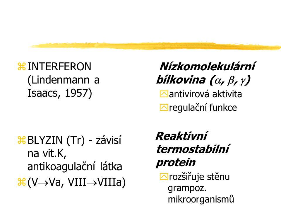 zINTERFERON (Lindenmann a Isaacs, 1957) zBLYZIN (Tr) - závisí na vit.K, antikoagulační látka z(V  Va, VIII  VIIIa) Nízkomolekulární bílkovina ( , 