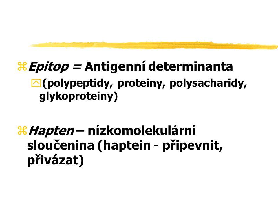 zEpitop = Antigenní determinanta y(polypeptidy, proteiny, polysacharidy, glykoproteiny) zHapten – nízkomolekulární sloučenina (haptein - připevnit, př