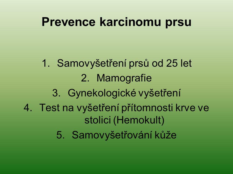 Prevence karcinomu prsu 1.Samovyšetření prsů od 25 let 2.Mamografie 3.Gynekologické vyšetření 4.Test na vyšetření přítomnosti krve ve stolici (Hemokul