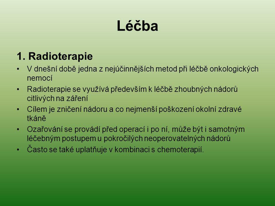 Léčba 1. Radioterapie V dnešní době jedna z nejúčinnějších metod při léčbě onkologických nemocí Radioterapie se využívá především k léčbě zhoubných ná