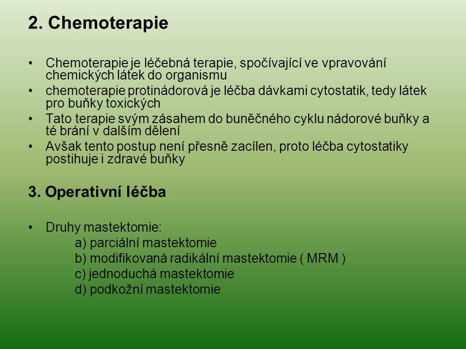 2. Chemoterapie Chemoterapie je léčebná terapie, spočívající ve vpravování chemických látek do organismu chemoterapie protinádorová je léčba dávkami c