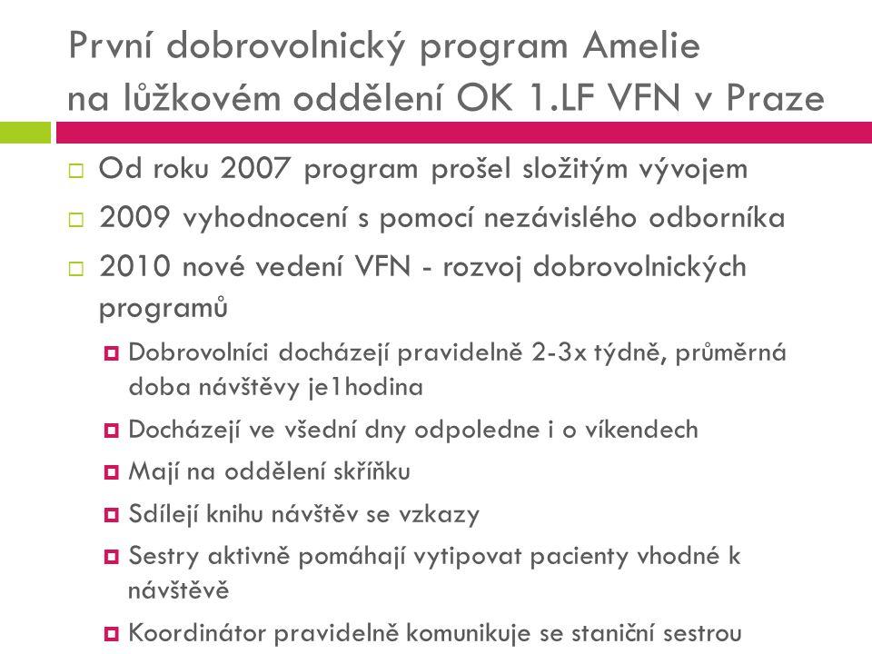 První dobrovolnický program Amelie na lůžkovém oddělení OK 1.LF VFN v Praze  Od roku 2007 program prošel složitým vývojem  2009 vyhodnocení s pomocí