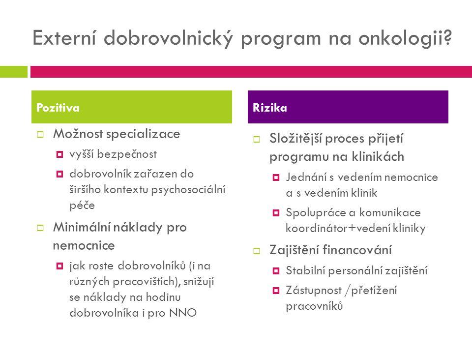 Externí dobrovolnický program na onkologii?  Možnost specializace  vyšší bezpečnost  dobrovolník zařazen do širšího kontextu psychosociální péče 