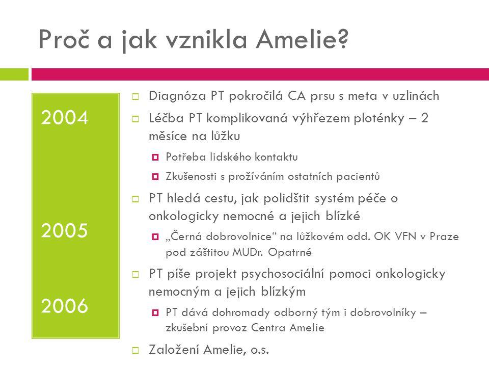 Proč a jak vznikla Amelie? 2004 2005 2006  Diagnóza PT pokročilá CA prsu s meta v uzlinách  Léčba PT komplikovaná výhřezem ploténky – 2 měsíce na lů