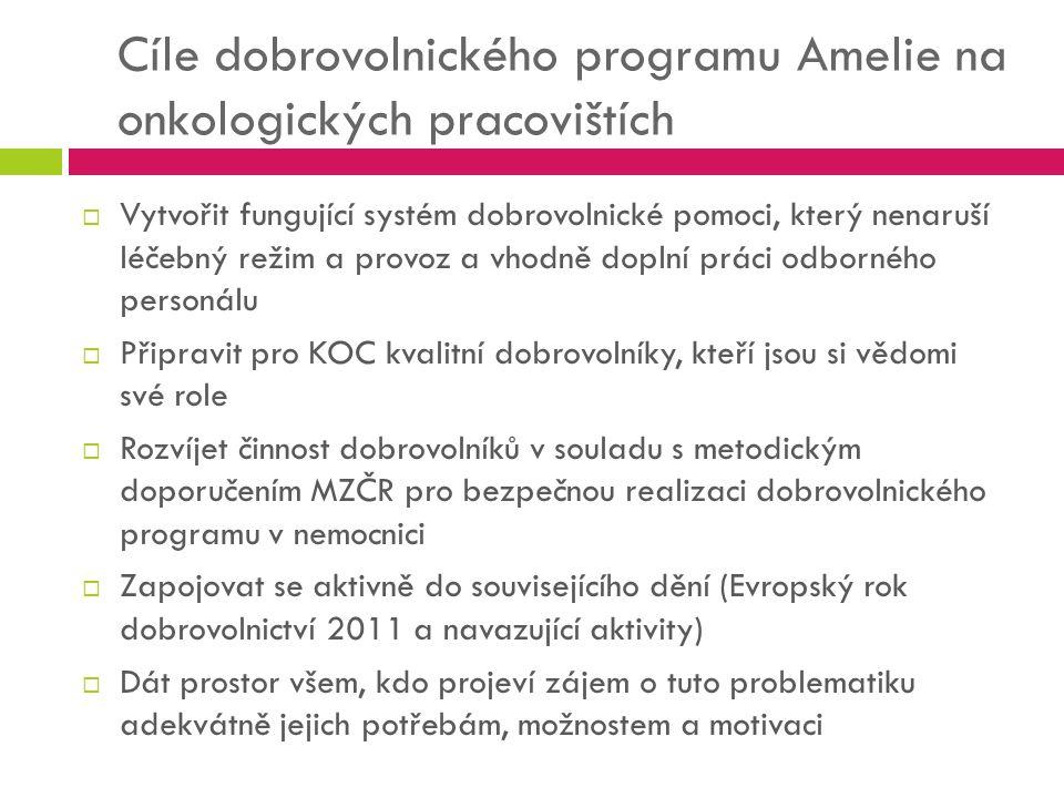 Cíle dobrovolnického programu Amelie na onkologických pracovištích  Vytvořit fungující systém dobrovolnické pomoci, který nenaruší léčebný režim a pr