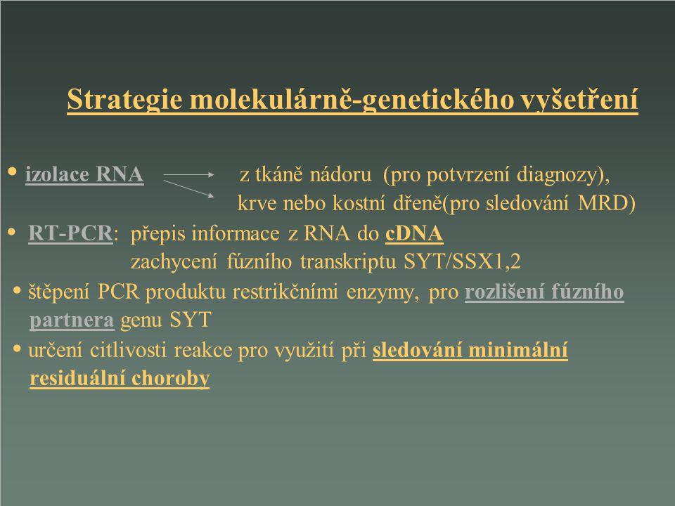 Strategie molekulárně-genetického vyšetření izolace RNA z tkáně nádoru (pro potvrzení diagnozy), krve nebo kostní dřeně(pro sledování MRD) RT-PCR: pře
