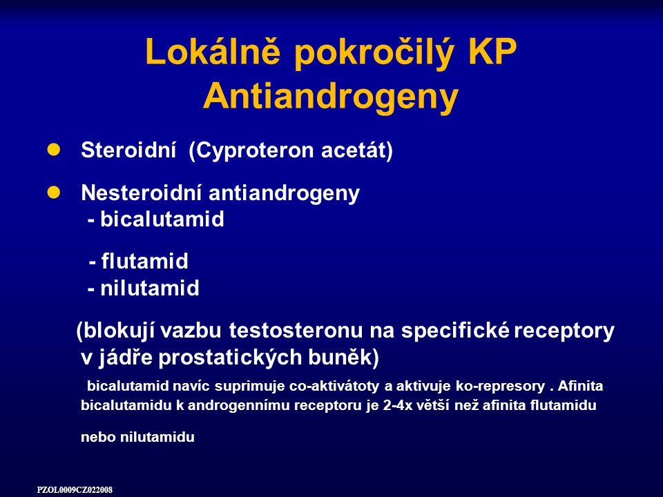 PZOL0009CZ022008 Lokálně pokročilý KP Antiandrogeny Steroidní (Cyproteron acetát) Nesteroidní antiandrogeny - bicalutamid - flutamid - nilutamid (blokují vazbu testosteronu na specifické receptory v jádře prostatických buněk) bicalutamid navíc suprimuje co-aktivátoty a aktivuje ko-represory.