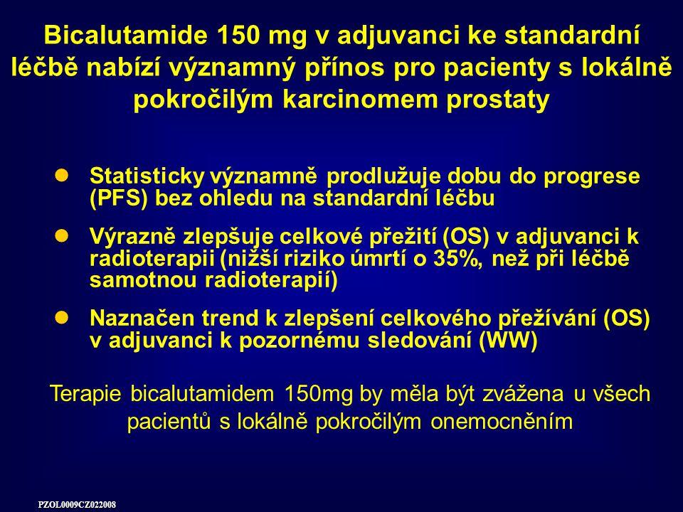 PZOL0009CZ022008 Statisticky významně prodlužuje dobu do progrese (PFS) bez ohledu na standardní léčbu Výrazně zlepšuje celkové přežití (OS) v adjuvanci k radioterapii (nižší riziko úmrtí o 35%, než při léčbě samotnou radioterapií) Naznačen trend k zlepšení celkového přežívání (OS) v adjuvanci k pozornému sledování (WW) Bicalutamide 150 mg v adjuvanci ke standardní léčbě nabízí významný přínos pro pacienty s lokálně pokročilým karcinomem prostaty Terapie bicalutamidem 150mg by měla být zvážena u všech pacientů s lokálně pokročilým onemocněním