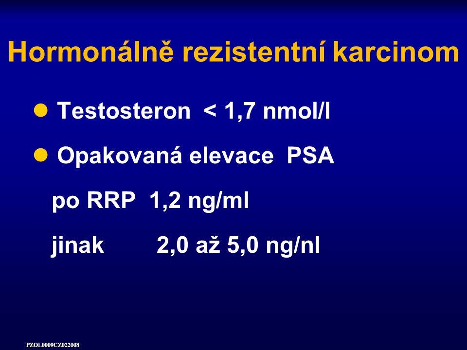 PZOL0009CZ022008 Hormonálně rezistentní karcinom Testosteron < 1,7 nmol/l Opakovaná elevace PSA po RRP 1,2 ng/ml jinak 2,0 až 5,0 ng/nl