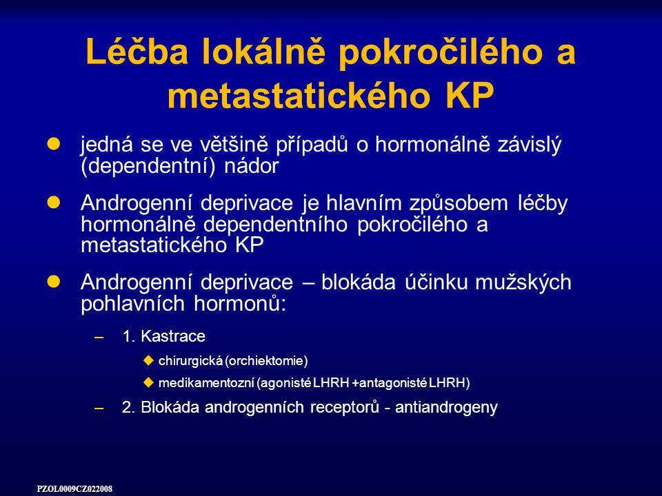 PZOL0009CZ022008 Léčba lokálně pokročilého a metastatického KP jedná se ve většině případů o hormonálně závislý (dependentní) nádor Androgenní deprivace je hlavním způsobem léčby hormonálně dependentního pokročilého a metastatického KP Androgenní deprivace – blokáda účinku mužských pohlavních hormonů: –1.
