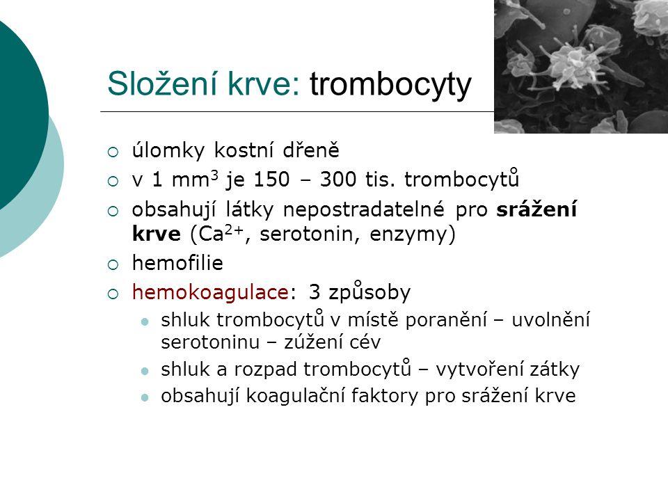 Složení krve: trombocyty  úlomky kostní dřeně  v 1 mm 3 je 150 – 300 tis. trombocytů  obsahují látky nepostradatelné pro srážení krve (Ca 2+, serot
