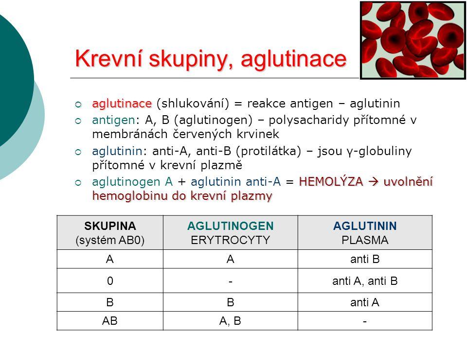 Krevní skupiny, aglutinace  aglutinace  aglutinace (shlukování) = reakce antigen – aglutinin  antigen: A, B (aglutinogen) – polysacharidy přítomné