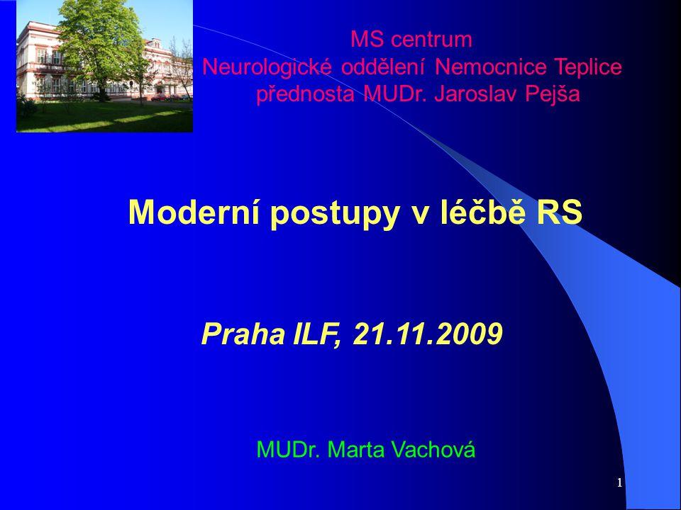 1 MS centrum Neurologické oddělení Nemocnice Teplice přednosta MUDr. Jaroslav Pejša Moderní postupy v léčbě RS Praha ILF, 21.11.2009 MUDr. Marta Vacho