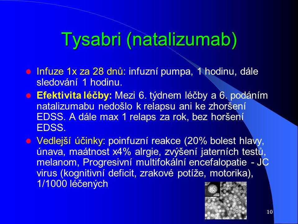 10 Tysabri (natalizumab) Infuze 1x za 28 dnů: infuzní pumpa, 1 hodinu, dále sledování 1 hodinu. Efektivita léčby: Mezi 6. týdnem léčby a 6. podáním na
