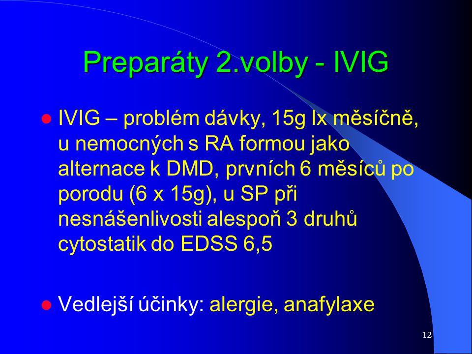 12 Preparáty 2.volby - IVIG IVIG – problém dávky, 15g lx měsíčně, u nemocných s RA formou jako alternace k DMD, prvních 6 měsíců po porodu (6 x 15g),