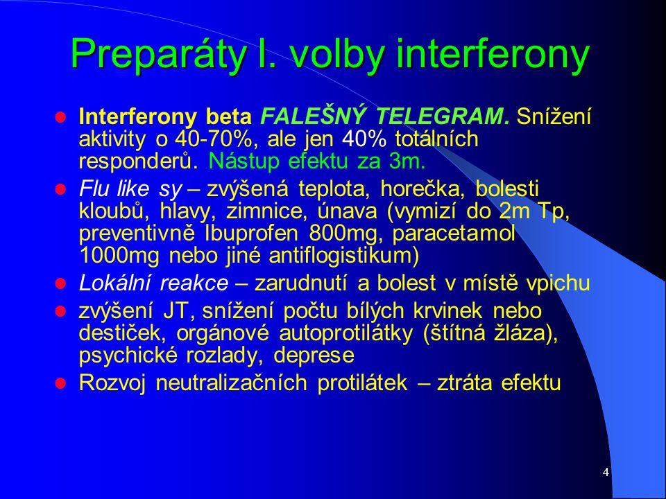 4 Preparáty l. volby interferony Interferony beta FALEŠNÝ TELEGRAM. Snížení aktivity o 40-70%, ale jen 40% totálních responderů. Nástup efektu za 3m.