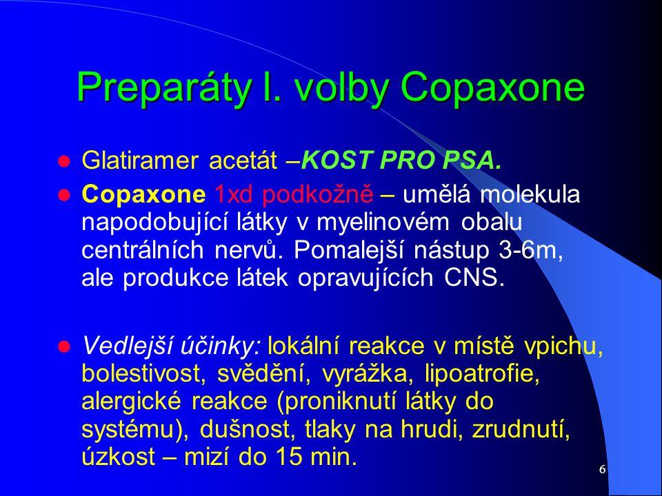 6 Preparáty l. volby Copaxone Glatiramer acetát –KOST PRO PSA. Copaxone 1xd podkožně – umělá molekula napodobující látky v myelinovém obalu centrálníc