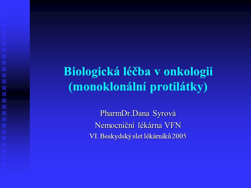 Biologická léčba v onkologii (monoklonální protilátky) PharmDr.Dana Syrová Nemocniční lékárna VFN VI. Beskydský slet lékárníků 2005