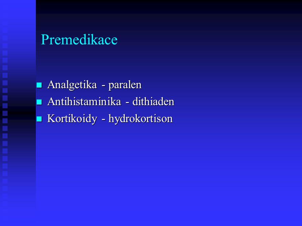 Premedikace Analgetika - paralen Analgetika - paralen Antihistaminika - dithiaden Antihistaminika - dithiaden Kortikoidy - hydrokortison Kortikoidy -