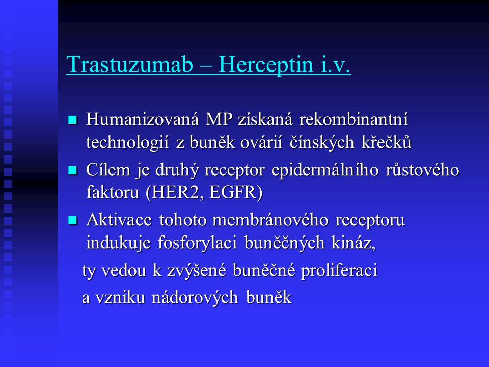 Trastuzumab – Herceptin i.v. Humanizovaná MP získaná rekombinantní technologií z buněk ovárií čínských křečků Humanizovaná MP získaná rekombinantní te
