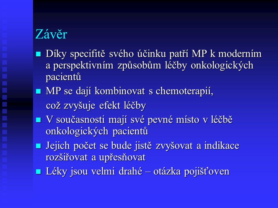 Závěr Díky specifitě svého účinku patří MP k moderním a perspektivním způsobům léčby onkologických pacientů Díky specifitě svého účinku patří MP k mod
