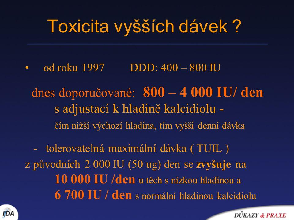 Toxicita vyšších dávek ? od roku 1997 DDD: 400 – 800 IU dnes doporučované: 800 – 4 000 IU/ den s adjustací k hladině kalcidiolu - čím nižší výchozí hl
