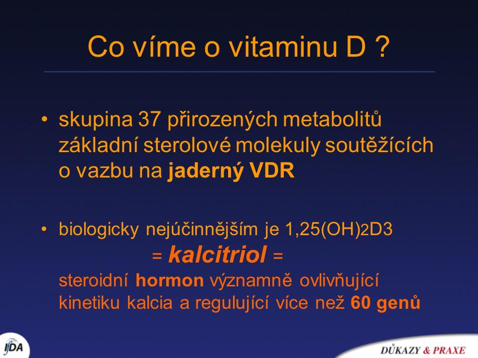 Co víme o vitaminu D ? skupina 37 přirozených metabolitů základní sterolové molekuly soutěžících o vazbu na jaderný VDR biologicky nejúčinnějším je 1,