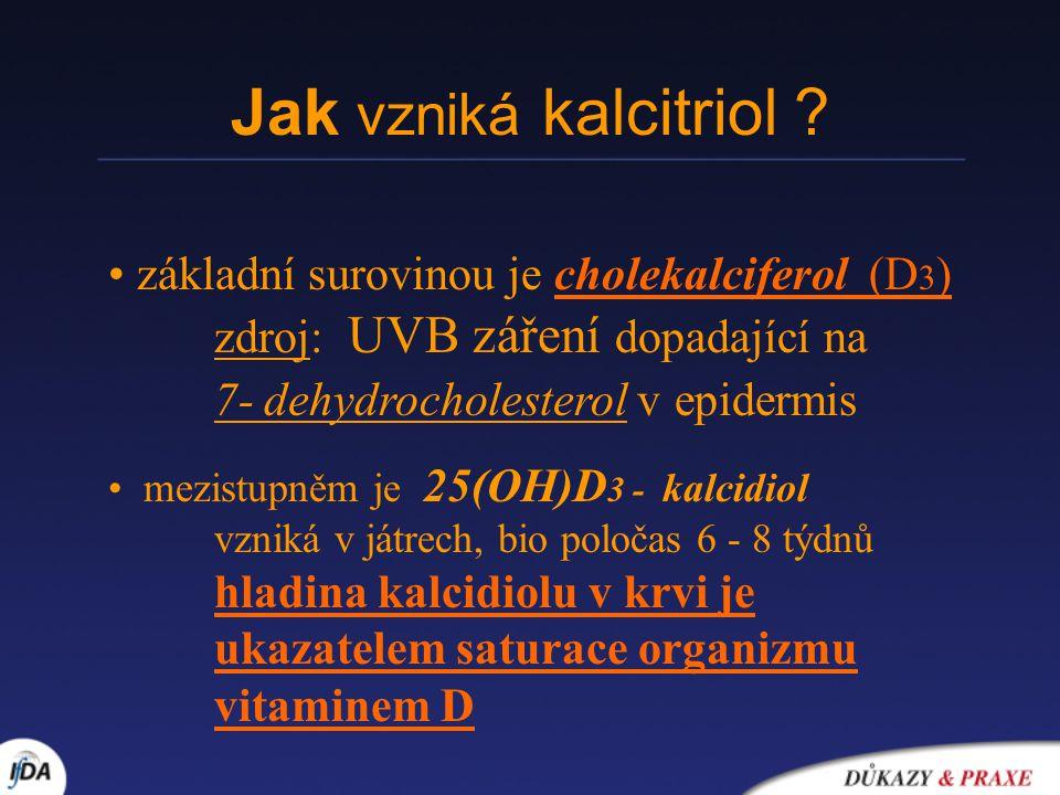 Jak vzniká kalcitriol ? základní surovinou je cholekalciferol (D 3 ) zdroj: UVB záření dopadající na 7- dehydrocholesterol v epidermis mezistupněm je