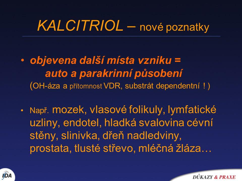 KALCITRIOL – nové poznatky objevena další místa vzniku = auto a parakrinní působení ( OH-áza a přítomnost VDR, substrát dependentní ! ) Např. mozek, v
