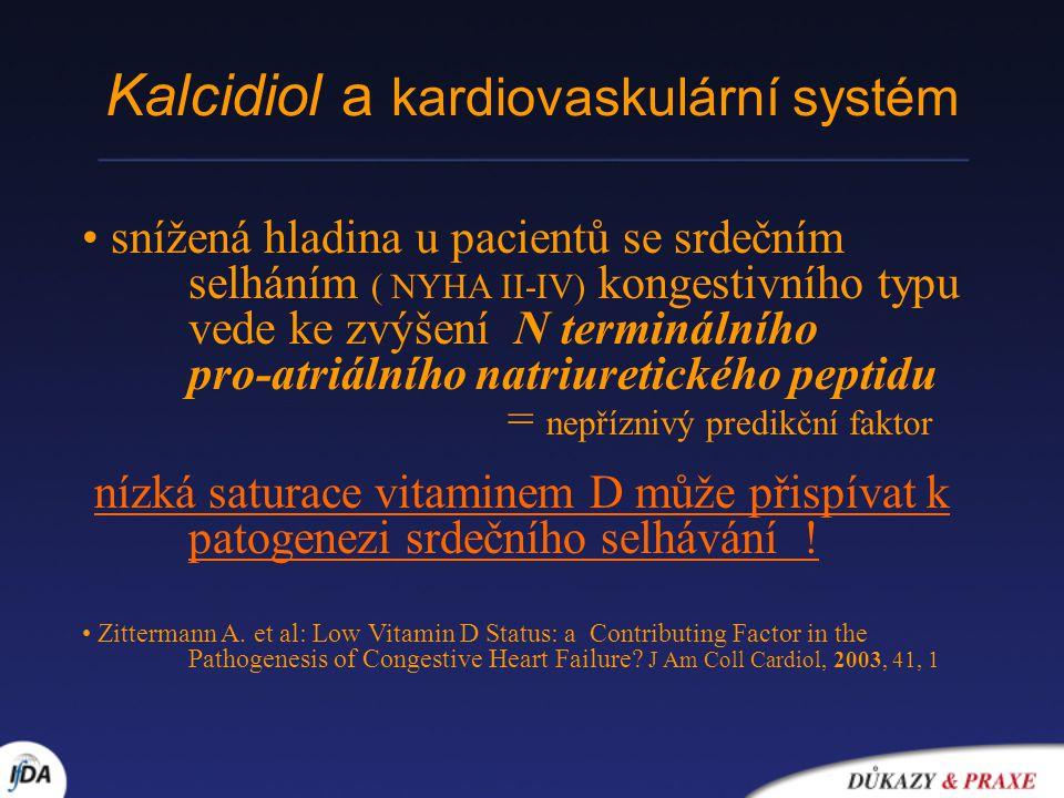 Kalcidiol a kardiovaskulární systém snížená hladina u pacientů se srdečním selháním ( NYHA II-IV) kongestivního typu vede ke zvýšení N terminálního pr