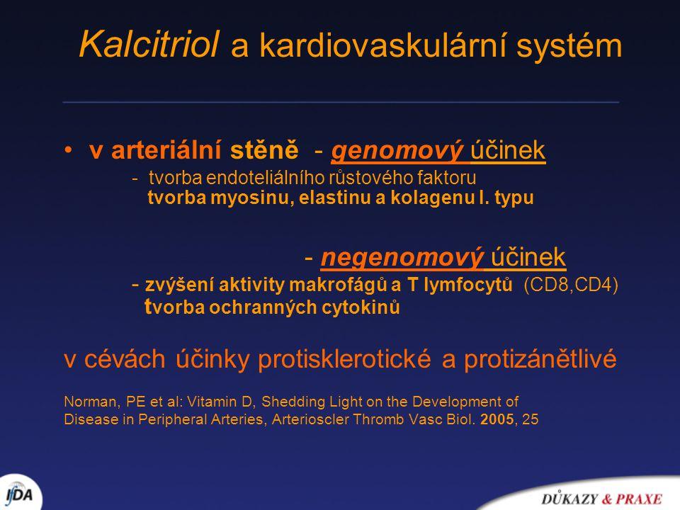 v arteriální stěně - genomový účinek - tvorba endoteliálního růstového faktoru tvorba myosinu, elastinu a kolagenu I. typu - negenomový účinek - zvýše