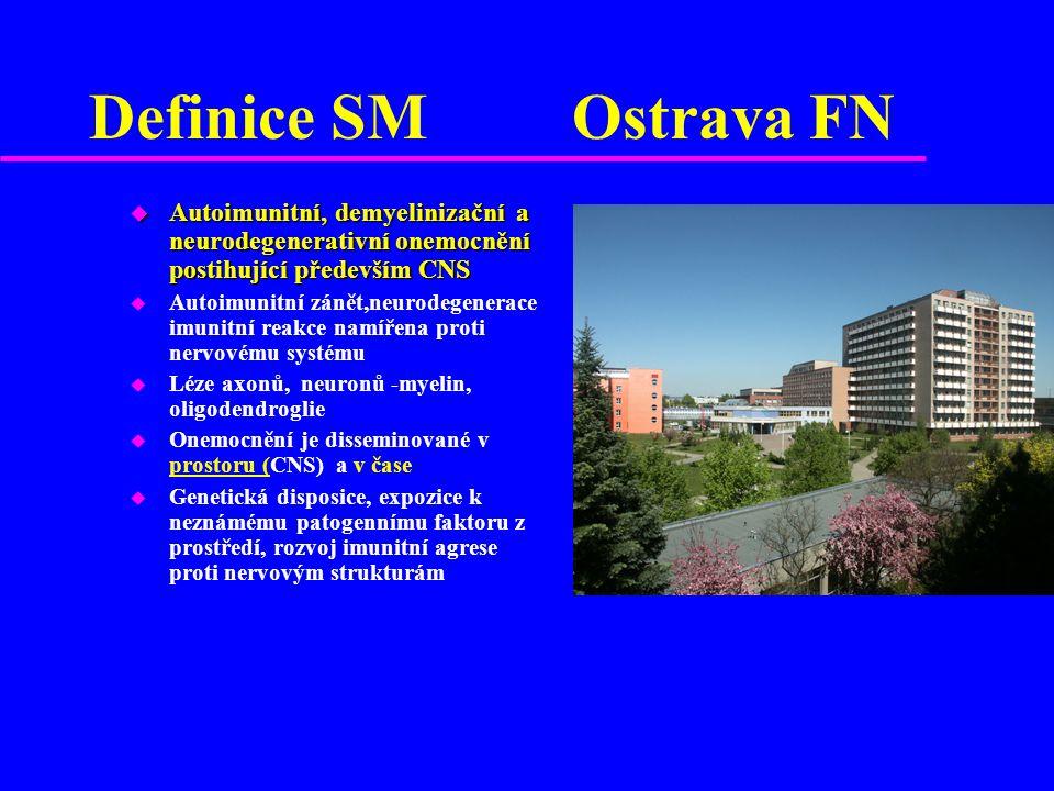 Definice SM Ostrava FN u Autoimunitní, demyelinizační a neurodegenerativní onemocnění postihující především CNS u Autoimunitní zánět,neurodegenerace i
