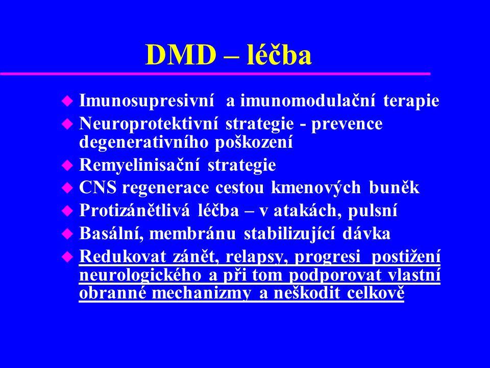 Kortikosteroidy od 1960 u ACTH, Hydrocortisone, Dexamethason, Methylprednisolon, Prednison u Standardní léčba relapsu, pulsní kůry, léčebná schemata co 3 –4 měsíce malý puls u Protizánětlivý, antiedematosní účinek u Vliv na zpomalení rozvoje mozkové atrofie u Hypotéza: u Indukuje remyelinizaci u Prevence axonální ztráty
