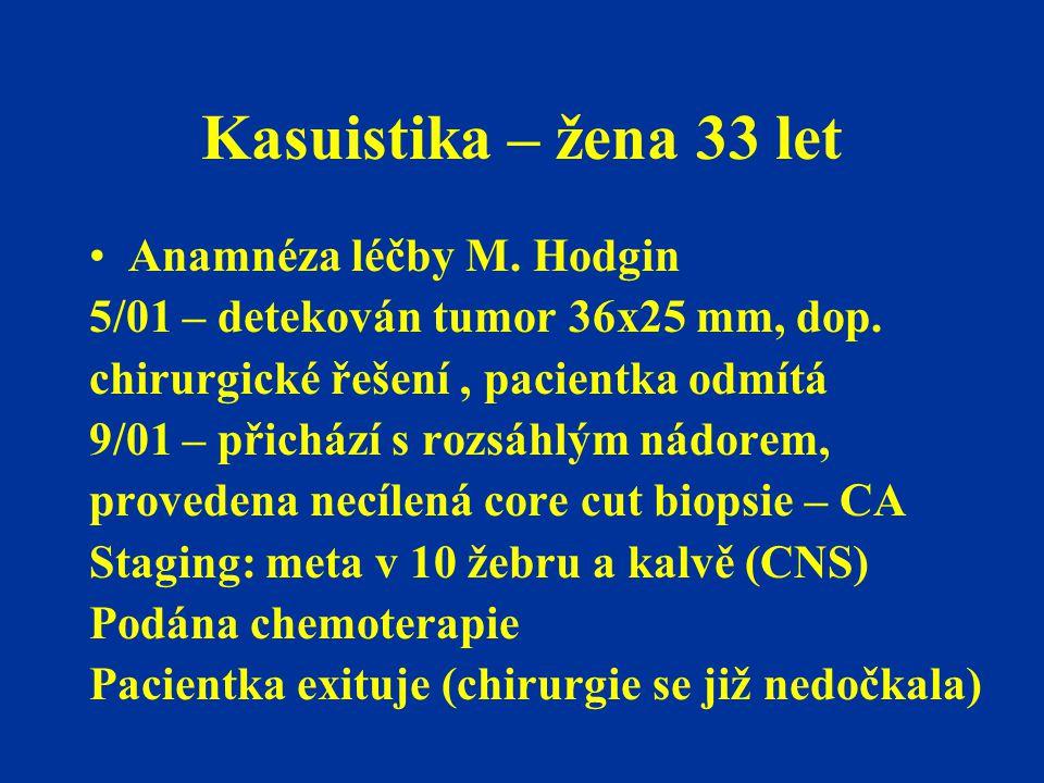 Kasuistika – žena 33 let Anamnéza léčby M. Hodgin 5/01 – detekován tumor 36x25 mm, dop. chirurgické řešení, pacientka odmítá 9/01 – přichází s rozsáhl
