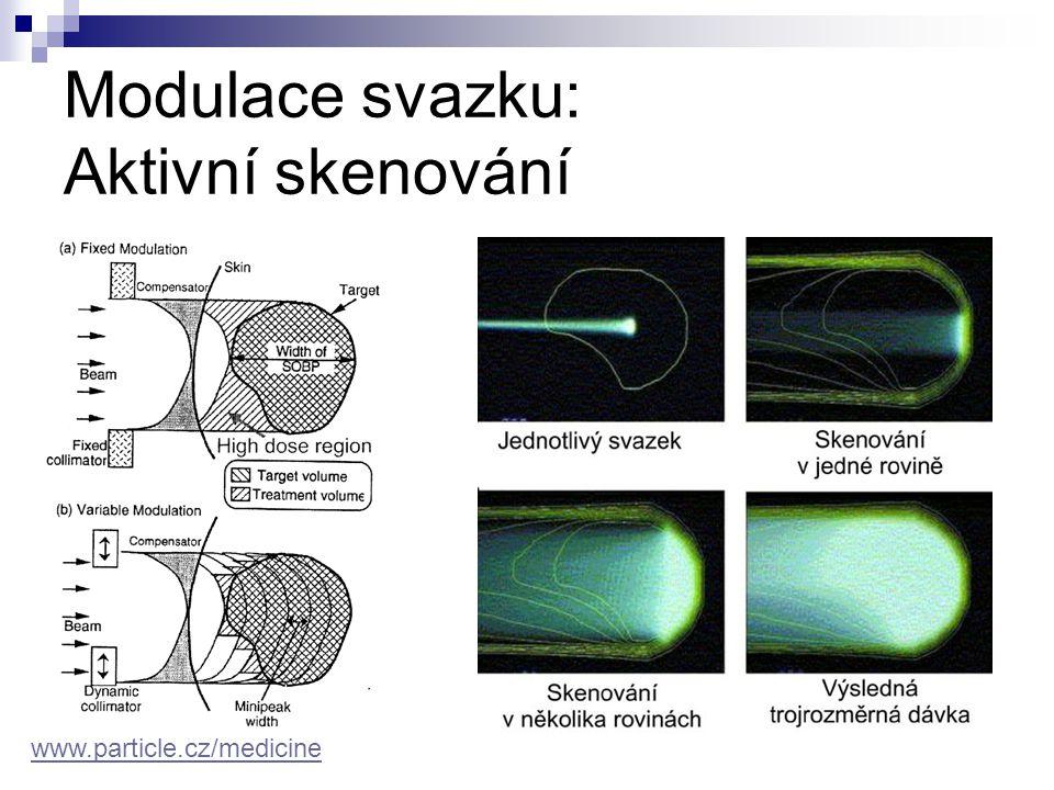 Technické požadavky dosah ve tkáni  nádory očí2-3,5 cm  oblast hlavy a krku2-10 cm  uvnitř těla2-25 cm potřebná maximální energie  protony220-250 MeV  iontyaž 400 MeV/u posun Braggova maxima (1-3 mm) → kroky změny energie (0,5-1 MeV) velikost ozařovacího pole dávková rychlost → tok částic urychlovače  cyklotron (IBA, Accel)  synchrotron (PIMMS, PRAMES, Optivus) gantry aktivní skenování www.particle.cz/medicine