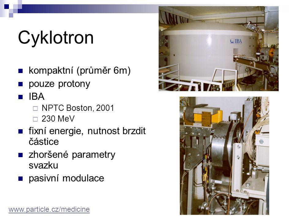 Cyklotron kompaktní (průměr 6m) pouze protony IBA  NPTC Boston, 2001  230 MeV fixní energie, nutnost brzdit částice zhoršené parametry svazku pasivn