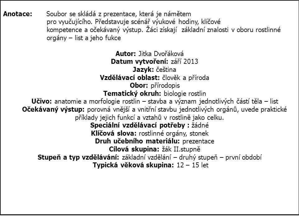 ROSTLINNÉ ORGÁNY III. LIST Autorem materiálu, není-li uvedeno jinak, je Jitka Dvořáková.