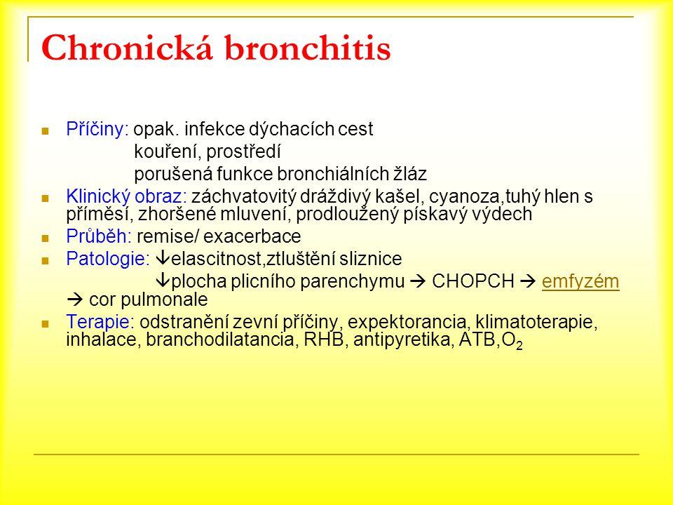 Chronická bronchitis Příčiny: opak. infekce dýchacích cest kouření, prostředí porušená funkce bronchiálních žláz Klinický obraz: záchvatovitý dráždivý