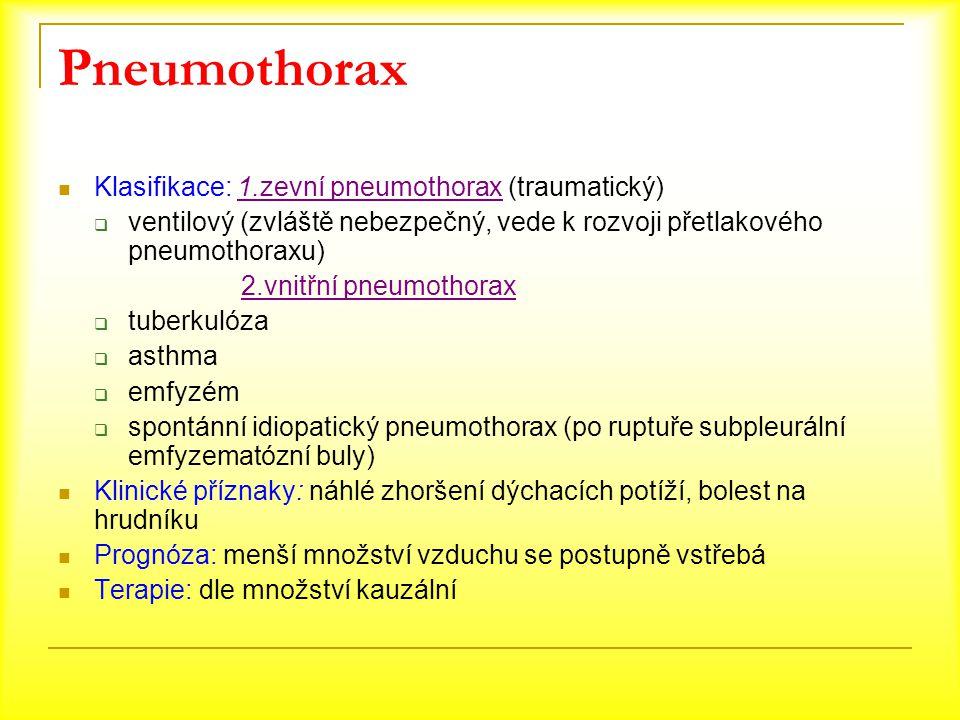 Pneumothorax Klasifikace: 1.zevní pneumothorax (traumatický)  ventilový (zvláště nebezpečný, vede k rozvoji přetlakového pneumothoraxu) 2.vnitřní pne