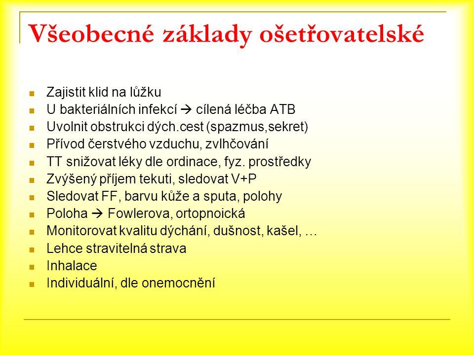Všeobecné základy ošetřovatelské Zajistit klid na lůžku U bakteriálních infekcí  cílená léčba ATB Uvolnit obstrukci dých.cest (spazmus,sekret) Přívod