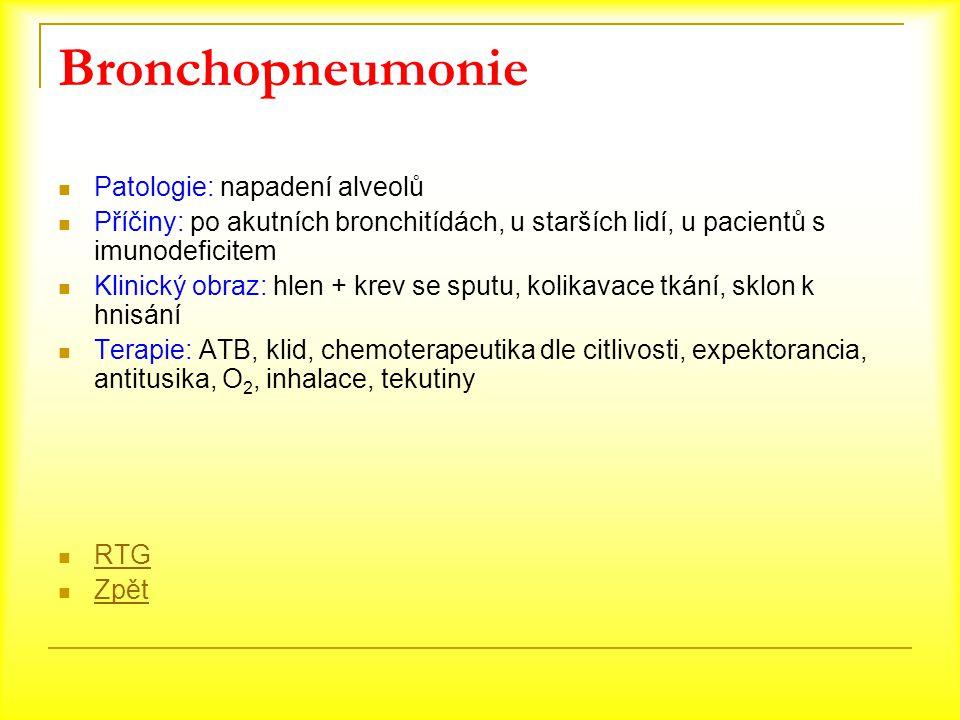 Bronchopneumonie Patologie: napadení alveolů Příčiny: po akutních bronchitídách, u starších lidí, u pacientů s imunodeficitem Klinický obraz: hlen + k