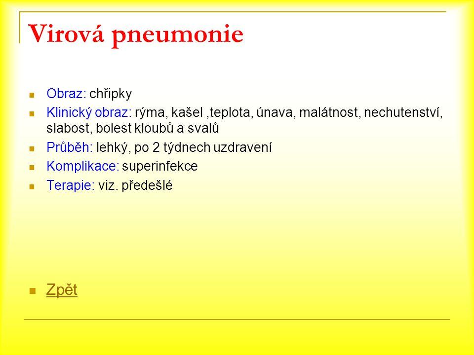 Virová pneumonie Obraz: chřipky Klinický obraz: rýma, kašel,teplota, únava, malátnost, nechutenství, slabost, bolest kloubů a svalů Průběh: lehký, po